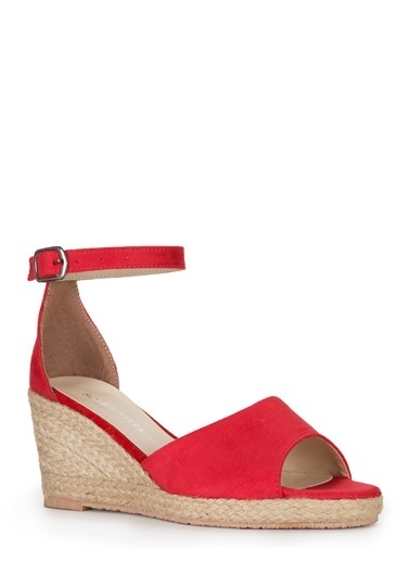 Sole Sisters Dolgu Topuklu Sandalet Kırmızı - Dohotar Kırmızı
